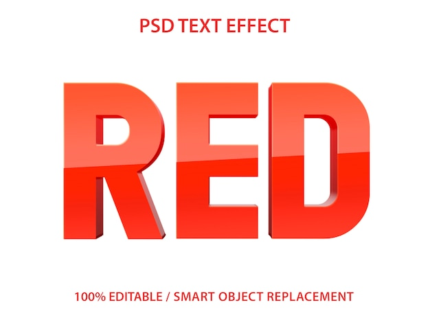 Editable text effect red premium