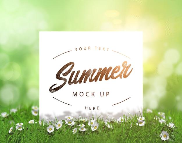 Editable verano maqueta con tarjeta en blanco ubicado en la hierba con margaritas