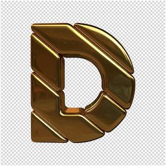 Een brief gemaakt van goud in 3d-rendering op transparante achtergrond in foto van hoge kwaliteit