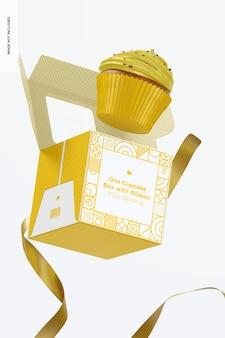 Een cupcake-doos met lintmodel