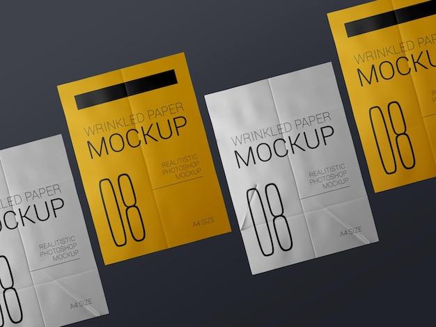 Een groep realistische mockup voor gerimpelde postersjabloon. gelijmd papier nat gekreukeld posters mockup,. Premium Psd