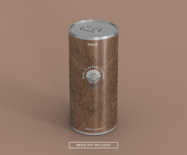 Een lange platte bier frisdrank kan bespotten voor logo labe of sticker decal