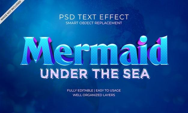 Een mermaid onder het zee tekst effect