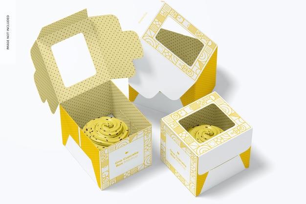 Een mockup met cupcake-dozen
