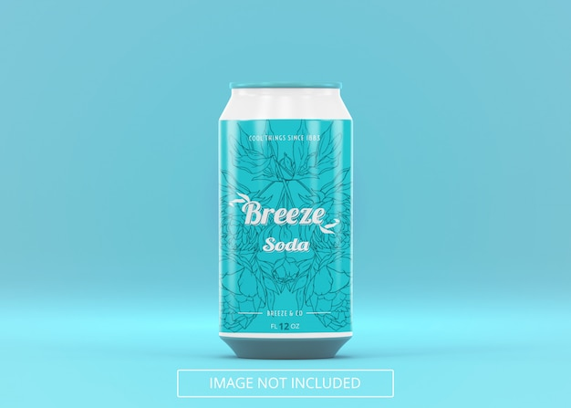 Een staande bier frisdrank kan bespotten voor logo label of sticker decal