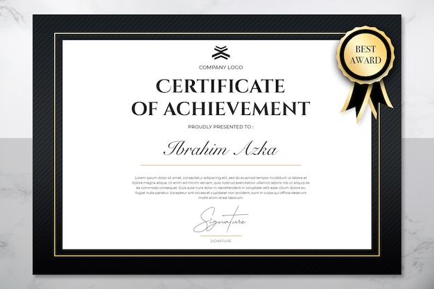 Eenvoudig certificaat van prestatie sjabloon