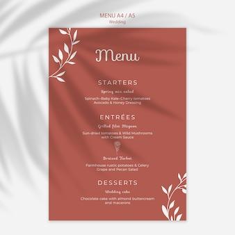 Eenvoudig en elegant menu voor bruiloft Gratis Psd