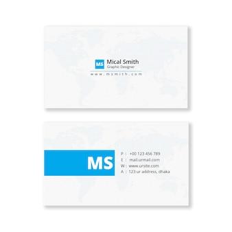 Eenvoudig en schoon blauw visitekaartje