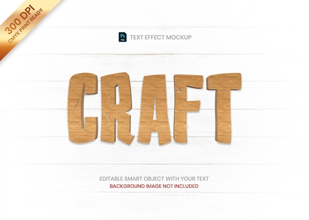 Eenvoudig houten 3d logo tekst effect sjabloon