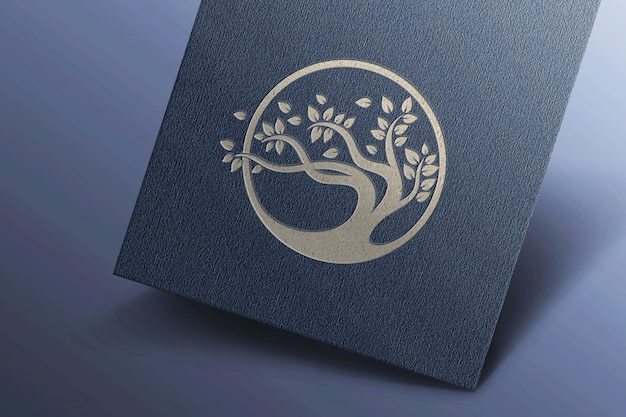 Eenvoudig logo mockup op donker visitekaartje