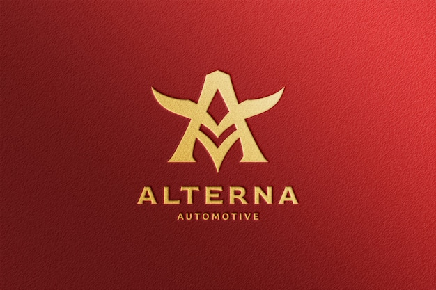 Eenvoudig reliëf gouden logo-model