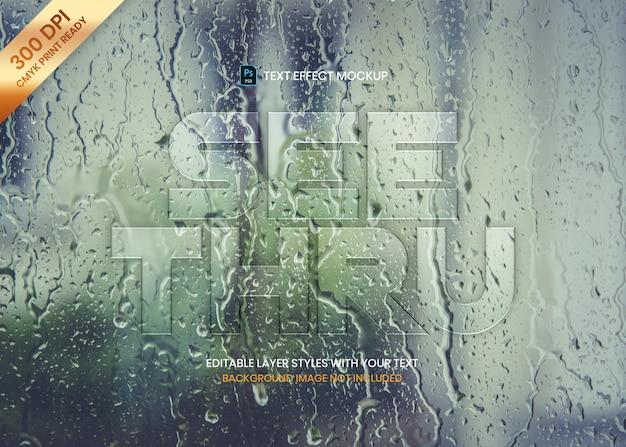 Eenvoudig transparant glas logo tekst effect sjabloon