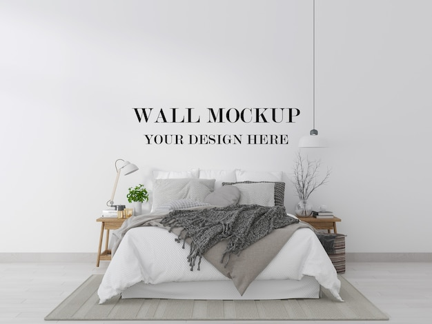 Eenvoudige en comfortabele slaapkamer muur mockup 3d-rendering
