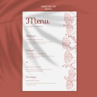 Eenvoudige en elegante menusjabloon voor bruiloft Gratis Psd