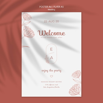 Eenvoudige en elegante poster sjabloon voor bruiloft Gratis Psd
