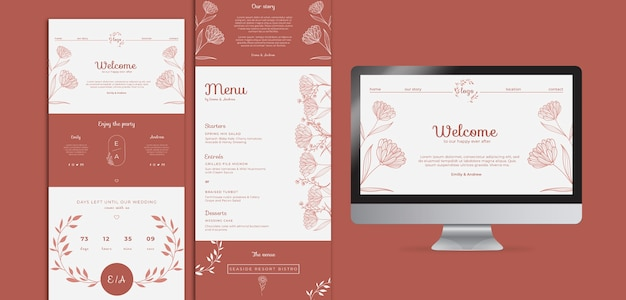 Eenvoudige en elegante websjabloon voor bruiloft met bestemmingspagina Gratis Psd