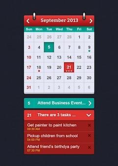 Eenvoudige kalender-interface psd