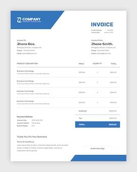 Eenvoudige minimalistische zakelijke factuur