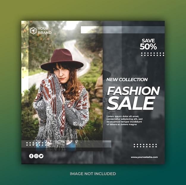 Eenvoudige moderne mode-verkoopbanner of vierkante flyer voor postsjabloon voor sociale media