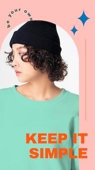 Eenvoudige modesjabloon psd voor verhaal op sociale media
