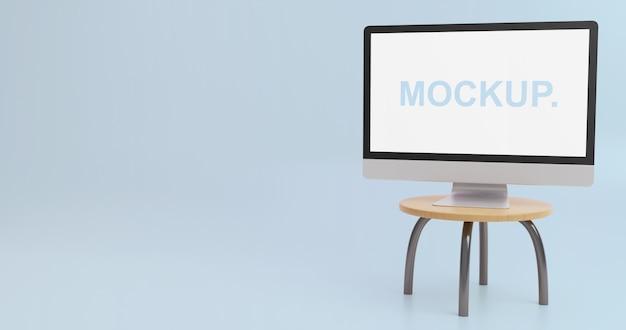 Eenvoudige monitor mockup op tafel