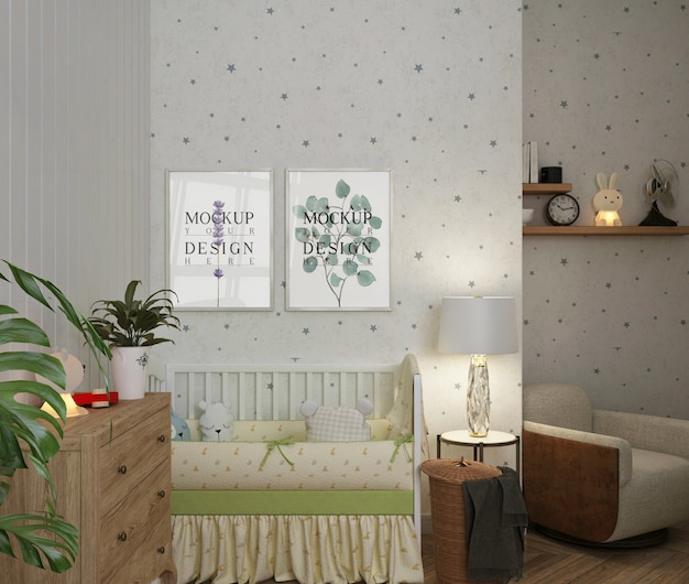 Eenvoudige witte babykamer met mockup-posterframes