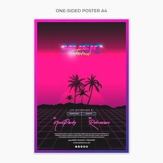 Eenzijdige a4 postersjabloon voor muziekfestival van de jaren 80