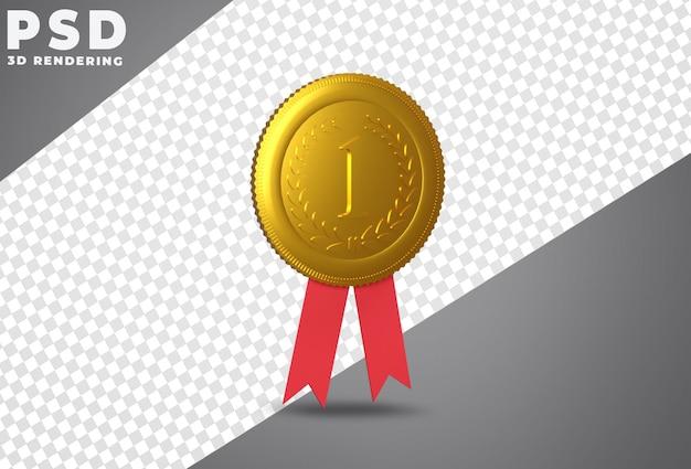 Eerste plaats toekennen gouden medaille 3d-rendering