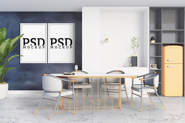 Eetkamer met moderne stijl en fotolijsten