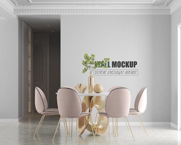 Eetkamer ontworpen met luxe en moderne lijnen muurmodel