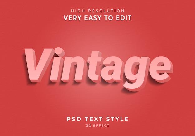Efecto 3dtext vintage