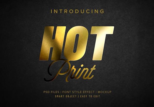 Efecto de estilo de fuente dorado de impresión en caliente
