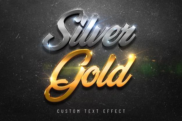 Efecto de estilo de fuente de oro plateado maqueta 3d