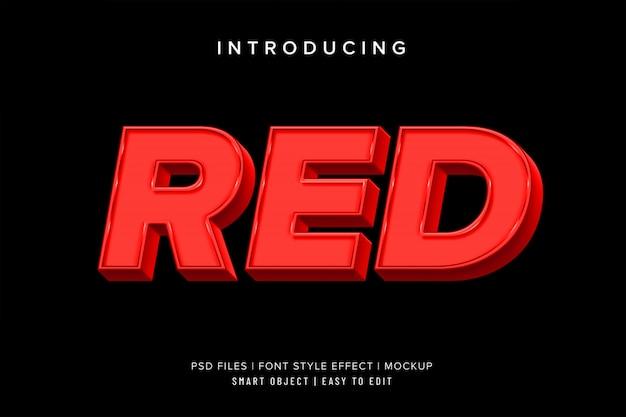 Efecto de estilo de fuente rojo 3d