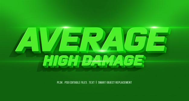 Efecto de estilo de texto 3d de alto daño promedio