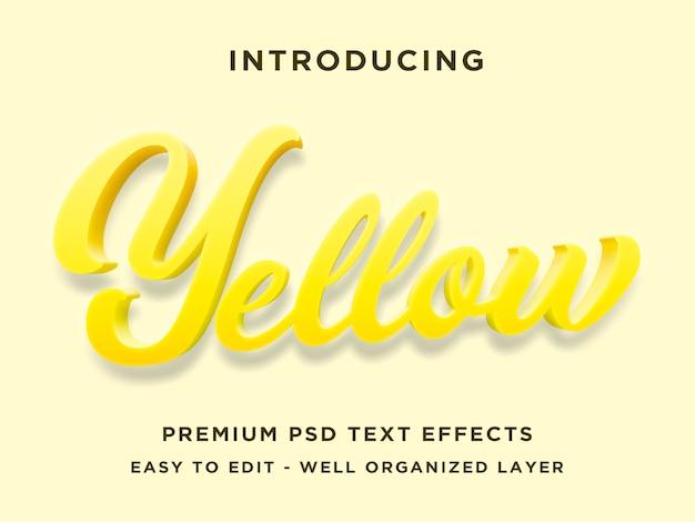 Efecto de estilo de texto 3d amarillo premium psd