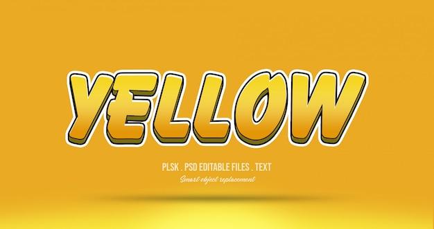 Efecto de estilo de texto 3d amarillo