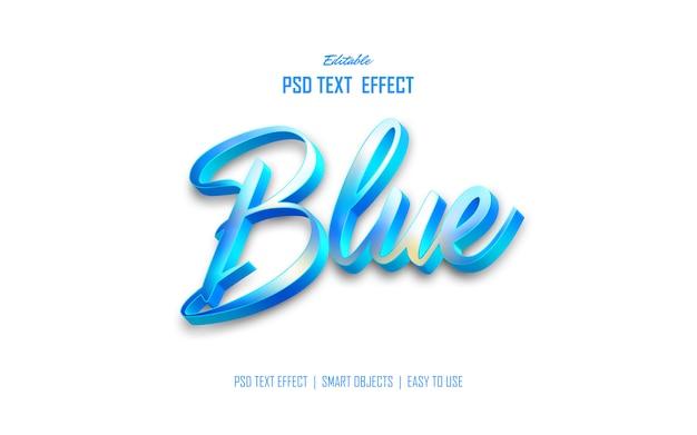 Efecto de estilo de texto 3d azul moderno
