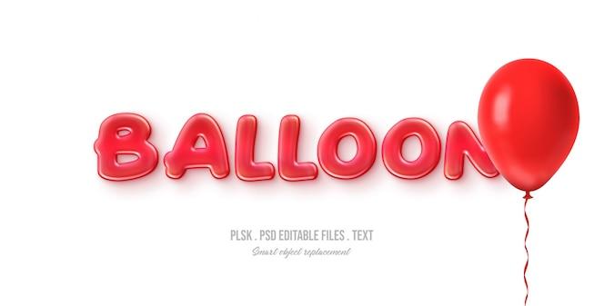 Efecto de estilo de texto 3d ballon