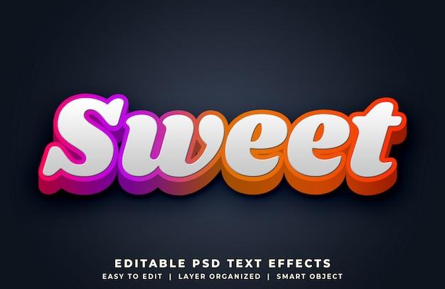 Efecto de estilo de texto 3d colorido dulce