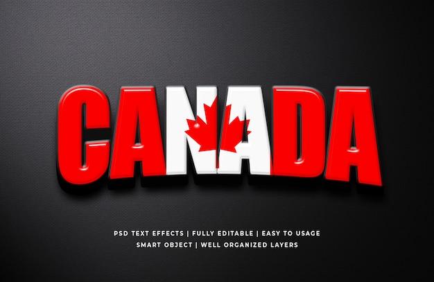 Efecto de estilo de texto 3d del día de canadá