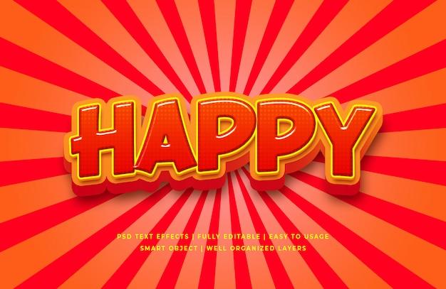 Efecto de estilo de texto 3d de dibujos animados feliz