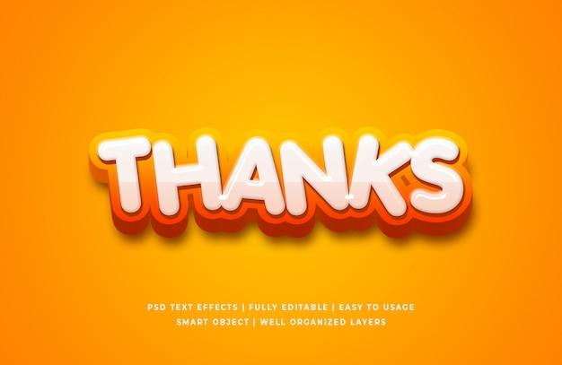 Efecto de estilo de texto 3d de dibujos animados gracias
