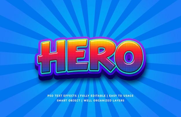 Efecto de estilo de texto 3d de dibujos animados de héroe