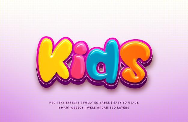 Efecto de estilo de texto 3d de dibujos animados para niños