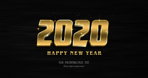 Efecto de estilo de texto 3d de feliz año nuevo 2020