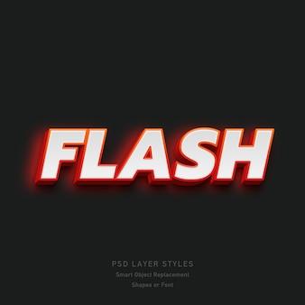 Efecto de estilo de texto 3d flash para fuente