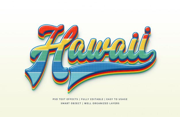 Efecto de estilo de texto 3d de hawaii