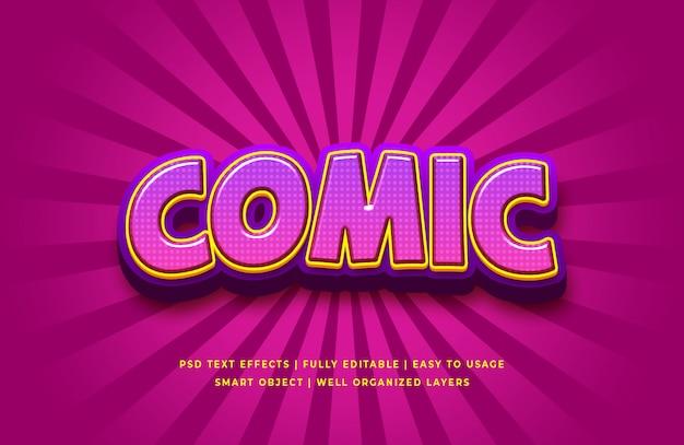 Efecto de estilo de texto 3d de historieta cómica