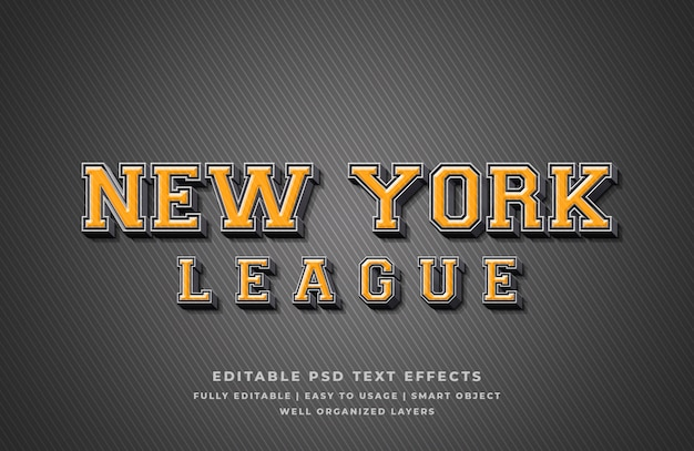 Efecto de estilo de texto en 3d de la liga de nueva york